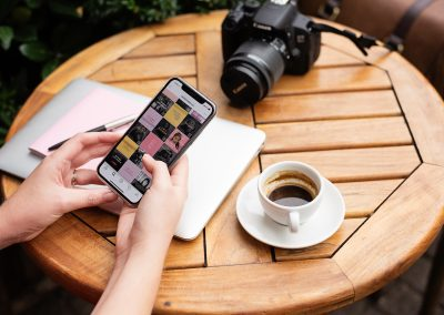 Mobile phone, camera and coffee cup